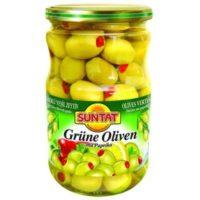 Grüne Oliven m. Paprika 720ml Gl.