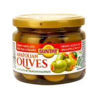 Grüne Oliven m. Orangepaste 300ml Gl.