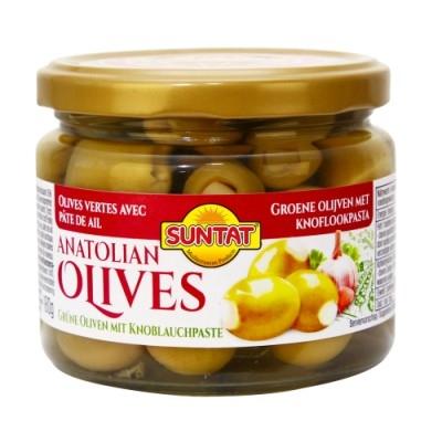 Grüne Oliven m. Knoblauchpaste 300ml Gl.