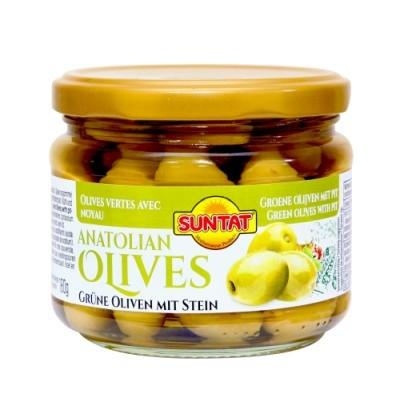 Grüne Oliven m. Stein 300ml Gl.