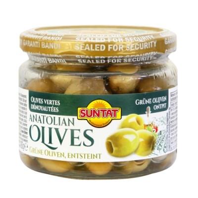 Grüne Oliven entsteint 300ml Gl.