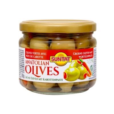Grüne Oliven m. Karottenpaste 300ml Gl.