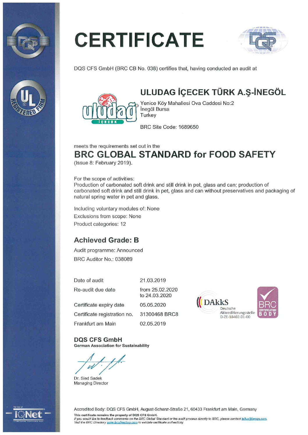 CERTIFICAT-BRC GLOBAL STANDARD FOR FOOD SAFETY