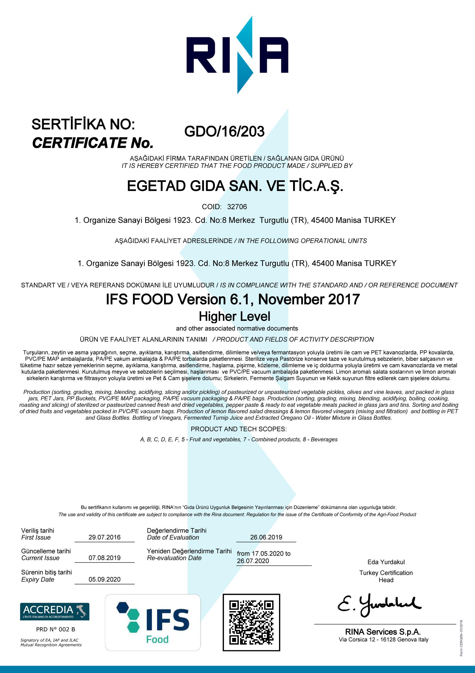 CERTIFICAT-RIA- GDO/16/203 EGETAD GIDA SAN. VE TICARET A.S.