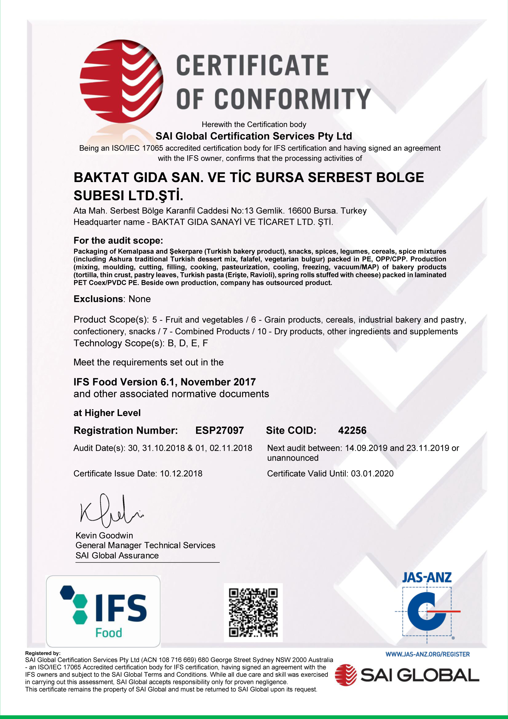 CERTIFICATE OF CONFORMITY, SAI Global Certification Services Pty Ltd